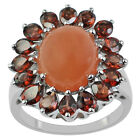 Peach Moonstone 4.58 Ct. Ring Gemstone Red Garnet Eternity Event Exotic Jewelry