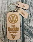 PERSONALISED FATHERS DAY GIFT WOODEN KEYRING DADDY VW VOLKSWAGEN WITH NAME TAG