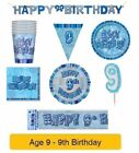 AGE 9 - Happy 9th Birthday BLUE GLITZ - Party Balloons, Banners & Decorations