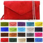 NEW WOMENS GENUINE SUEDE LEATHER CHAIN WRISTLET PARTY ENVELOPE CLUTCH BAG
