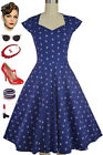 PLUS SIZE NAVY BLUE Anchors Soubrette Brunette 50s Style Sweetheart Pinup Dress