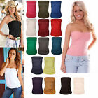 Ladies New Plain Strapless Sleeveless Boob Tube Bandeau Womans Ruched Top 8-22