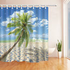 "71"" Waterproof Fabric Shower Curtain Bathroom home decor beach plam and blue sky"