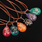 Vintage Luminous Dried Flower Pendant Glow In The Dark Chain Necklace Jewellery