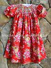 Smocked A Lot girls bishop dress Red Rose Floral Rosie Vintage Birthday pink