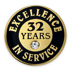 PinMart's Gold Excellence in Service Enamel Lapel Pin w/ Rhinestone - 32 Years
