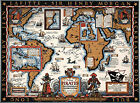 Vintage Map Famous Pirates Buccaneers Freebooters Buried Treasure Poster Print