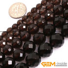 "Natural AAA Grade Dark Brown Smoky Quartz Faceted Round Beads 15"" 4mm 6mm 8mm"