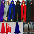Vintage Cosplay Velvet Cloak Witch Adult Hooded Cape Halloween Fancy Costume