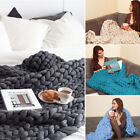 Large Soft Warm Hand Chunky Knit Blanket Thick Yarn Wool Bulky Knitted Throw Hot