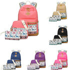 3Pcs Women Canvas Backpack Colorful Printing Shoulder bags For Teenage Girls