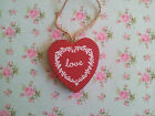 New Red Love Heart Hanging Decoration Wooden 5 X 5cms LOVE
