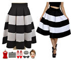 50s Style Plus Size PINUP BLACK & WHITE STRIPE HighWaist FULL Skirt w/BoxPleats