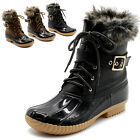 ollio Womens Shoes Lace Up Faux Fur Buckled Duck Boot