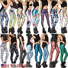 New Women Graphic Printed 3d Punk Stretchy Leggings Yoga Gym Funky Pencil Pants