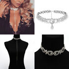 Diamond Vintage Necklace Choker Party Layer Drop Charm Silver Bling Rhinestone