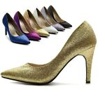 ollio Womens Glitter Shoes High Heel D'Orsay Multi Colored Point toe Pumps