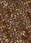 Brown Petals Stems Transitional Casual Area Rug Floral Branches Vines Carpet