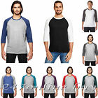 Anvil Mens Triblend Raglan Sleeve Baseball T Shirt Jersey Tee S-2XL 6755 image