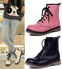 Womens Ladies Lace Up Low Heel Military Combat Ankle Boots Shoes 3 Colors B-809