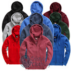 Premium Men's Zipped Hoodie Soft Feel Flat Lace Pull Cords, 13 Diff Colours