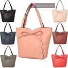 NEW LADIES FAUX LEATHER BOW SCALLOP DECORATION TOTE SHOPPER BAG