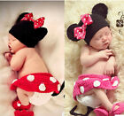 Newborn Girls Crochet Knit Costume Photo Photography Prop Outfits Minnie Mouse&1