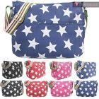LADIES NEW CANVAS STAR PRINT MULTICOLOUR STRAP SHOULDER CROSSBODY BAG