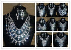 For Wedding Bridal Rhinestone Crystal Necklace Earrings Bracelet Ring Set 4x/set