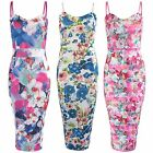 NEW LADIES FLORAL PRINT CALF KNEE MIDI DRESS STRAP TOP WOMEN BODYCON SUMMER LOOK
