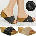 Womens Ladies Wedge Sandal Diamante Summer Slider Slip On Cushioned Comfort Mule