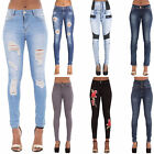 Women Ladies Blue High Waisted Skinny Fit Jeans Denim Pants size 6 8 10 12 14 16