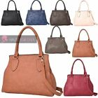 LADIES NEW FAUX LEATHER TOP HANDLES CROSSBODY STRAP SHOULDER TOTE BAG