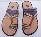 100% MOROCCAN LEATHER  MULTI COLOUR SANDALS * 4 sizes available BLUE