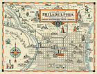 Early Pictorial Philadelphia Map Wall Art Poster Print Decor Vintage History