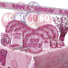 AGE 60 - Happy 60th Birthday PINK GLITZ - Party Range, Banners & Decorations