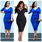Womens Plus Size Deep V Neck Wrap Ruched Waisted Bodycon Party Clubwear Dress