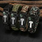 Strong Survival Paracord Bracelet - Flint Fire Starter Whistle Compass Gear Tool