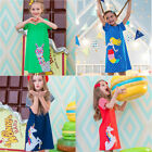 Girl Dress Jersey Striped Animal Applique Princess Clothing 100% Cotton Baby Kid