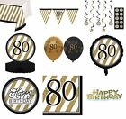 BLACK & GOLD Age 80 - Happy 80th Birthday Bday PARTY ITEMS Decorations Tableware