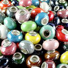 10 Pieces Candy Color Ceramic Round Silver Big Hole Spacer European Charm Beads