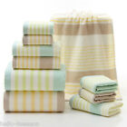 100% Cotton Quick-Dry Thick Bath Towels Striped Soft  Face Towel Hand Towels Set