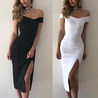 Fashion Women Off Shoulder Short Sleeve Bodycon Dress Evening Party Cocktail Us