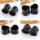 1 Pair Double Flare Acrylic Hollow Heart Ear Tunnels Plugs Earlets Gauges Gift