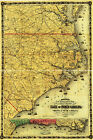 1861 Civil War Map North South Carolina Virginia Costal Naval Wall Poster Decor