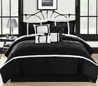 Vermont Black & White 8 Piece Embroidered Comforter Bed In A Bag Set