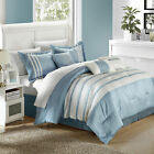 Torino Pleated & Pieced Blue 7 Piece Comforter Bed In A Bag Set