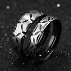 Pattern Silver Black Gold GP Surgical Stainless Steel Ring Size F 5-8 M 7-10