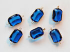VINTAGE FACETED OCTAGON PLASTIC CONNECTOR BEADS BRASS • 18x13mm • Black, Blue