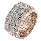 5 Row Eternity Anniversary Ring 5.50 Ct Natural Diamond 14Kt Solid Gold 11.65 MM